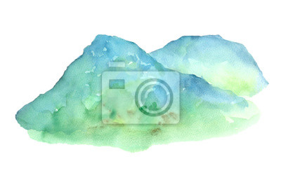 mountain landscape watercolor painting isolated white background hand drawn for card, wallpaper, text space