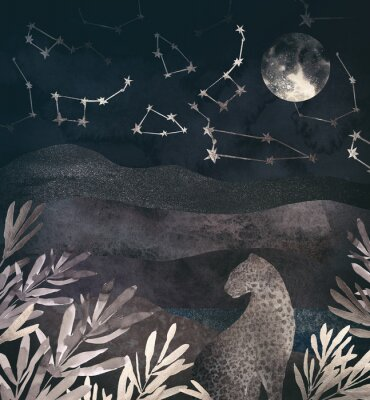 Obraz .Mountain night landscape with leopard. .Collage of textured shiny metallic paper