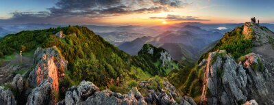 Obraz Mountain valley during sunrise. Natural summer landscape in Slovakia