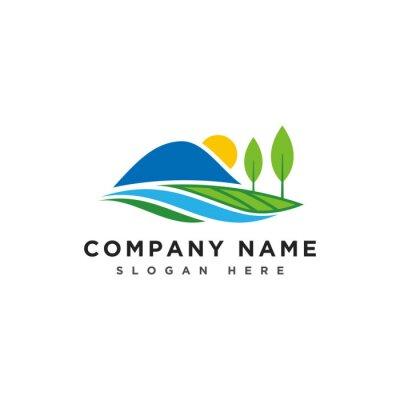 Obraz Mountains and river logo, mountains hill landscape logo, farm land icon, logotype vector template