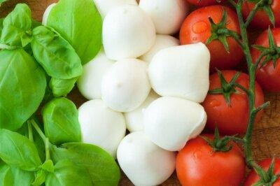 Obraz mozzarella i bazylia pomidor tle