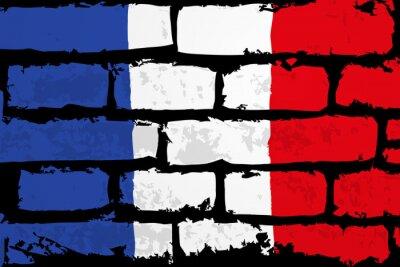 Obraz Mur flaga francji WEKTOR