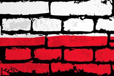 Obraz Mur flaga Polska WEKTOR