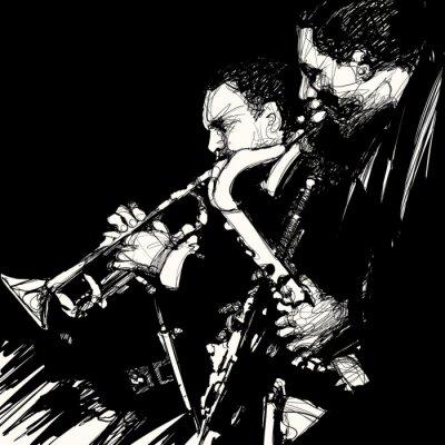 Obraz muzyk jazzowy mosiądz