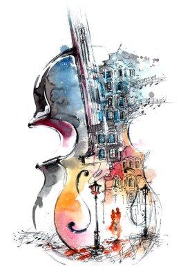 Obraz muzyka i miasta