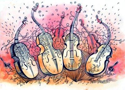 Obraz muzyka kontrabas