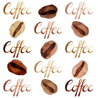 Obraz Na białym tle akwarela ilustrowane i malowane brązowy ziaren kawy i wzór zestaw liter