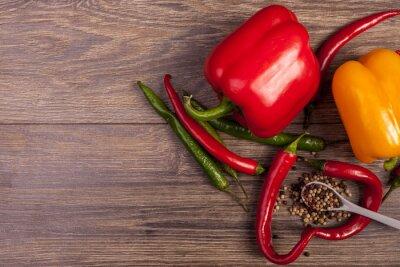 Obraz Na widok z góry chili, papryki słodkiej i pikantnej papryki
