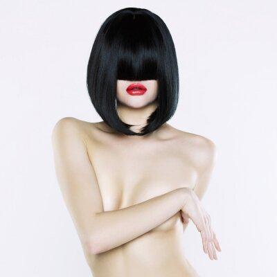 Obraz Naga kobieta z krótkim fryzura