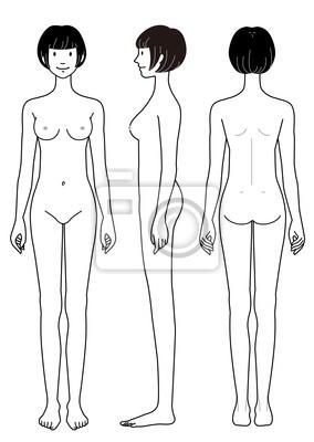 cb5d8b9c6585c3 Nagie ciało w bok z przodu rysunek z powrotem kobiety Obrazy na ...