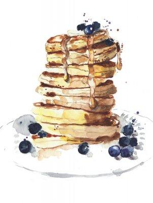 Naleśniki stos jedzenie śniadania akwarela ilustracji samodzielnie na białym tle