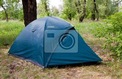 Namiot turystyczny w lesie