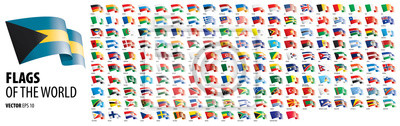 Obraz National flags of the countries. Vector illustration on white background