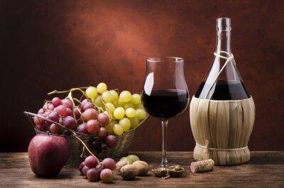 Obraz Natura Morta con fiaskiem di vino efrutta