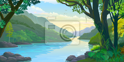 Obraz Natural window view of the river flowing calmly across dense green tropic forest