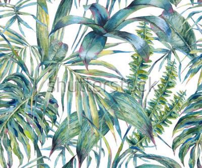 Obraz Naturalne liście egzotyczny akwarela bezszwowe wzór, zielone liście tropikalne, paproć, gęsta dżungla, ręcznie malowane botaniczne lato ilustracja na białym tle