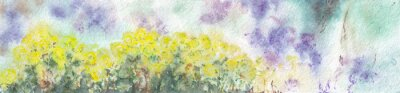 Nature floral landscape. Yellow flowers with green leaves and cloudy sky on textured paper. Watercolor painting web site banner template.
