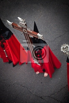 Nazareno realizacji Świętego Krzyża w Wielki Tydzień. Valladolid