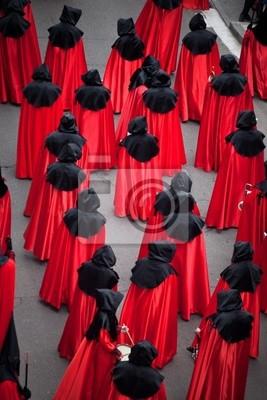 Nazarenos procesji w Wielki Tydzień. Valladolid, Hiszpania