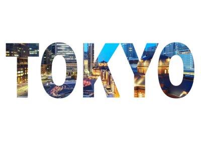 Obraz Nazwa miasta Tokio znak zdjęcie w tle. Pojedynczo na białym tle ..