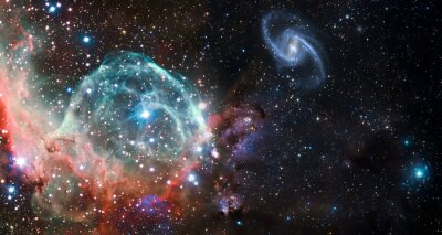Obraz Nebula and galaxies in space. Abstract cosmos background