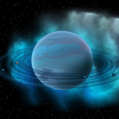 Obraz Neptune Planet - Neptun jest ósmą planetą w Układzie Słonecznym i ma pierścienie planetarne i wielka ciemna plama wskazującą burzy na jego powierzchni.