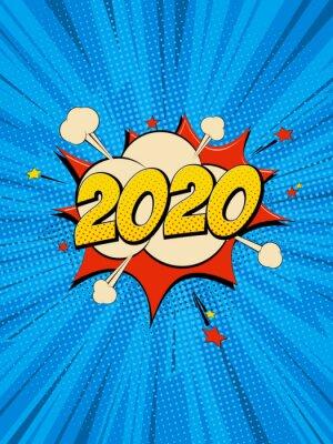 Obraz New Year 2020 pop art comic background lightning blast halftone dots.