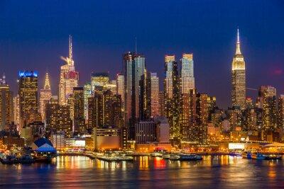 Obraz New York City Manhattan midtown buildings skyline night