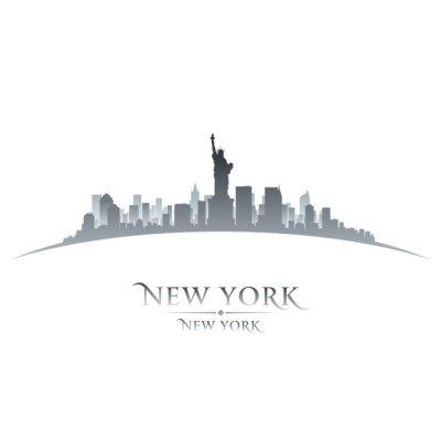 Obraz New York City skyline, sylwetka, biały, tło