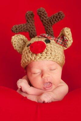 Obraz Newborn Baby Noszenie Red-węszył Renifer Hat