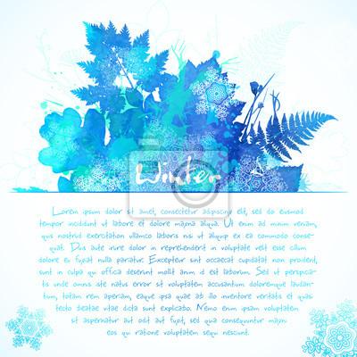 Niebieski akwarela malowane zimy pozostawia kartkę z życzeniami