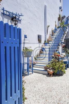 niebieski, biały, ściana, bramy i