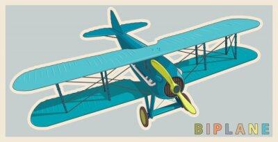 Obraz Niebieski dwupłatowiec w klasycznym kolorze i stylizacji. Model Śmigłowce z dwoma skrzydłami. Stare retro samoloty przeznaczone do drukowania plakatu. Pięknie i realistycznie wyciągnąć wektora latania