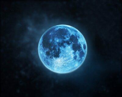 Obraz Niebieski Full Moon Atmosfera na ciemnym tle nocnego nieba, Elementy tego zdjęcia dostarczone przez NASA