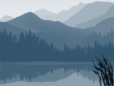 Obraz niebieski i szary las jezioro w górach