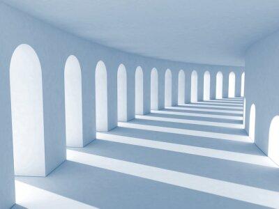 Obraz Niebieski kolumnada z głębokimi cieniami. Ilustracja