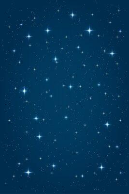 Obraz Niebieski nocy gwiaździste tle. Wektor pionowy wzór szablonu