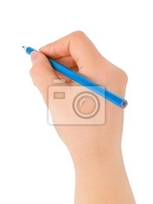 Niebieski ołówek w ręku