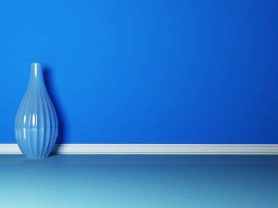 Obraz niebieski wazon w niebieskim pokoju