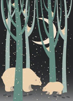 Obraz Niedźwiedź polarny i cub w lesie