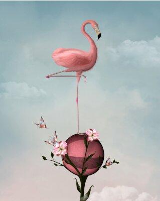 Obraz Nierealne składu z Flamingo i kwiatów
