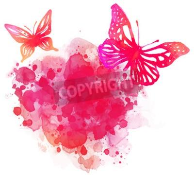 Obraz Niesamowite tła akwarela z motylem. Wektor sztuki na białym