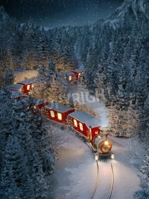 Obraz Niesamowity śliczny pociąg bożonarodzeniowy przechodzi przez fantastyczny las zimowy na biegunie północnym Nietypowe christmas 3d ilustracji
