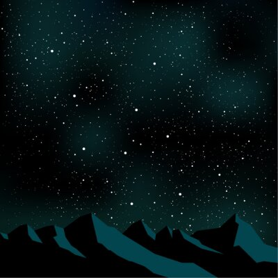 Obraz Night sky stars, mountain landscape, vector illustration