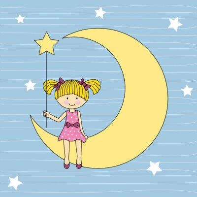 Obraz Niña sentada en la luna