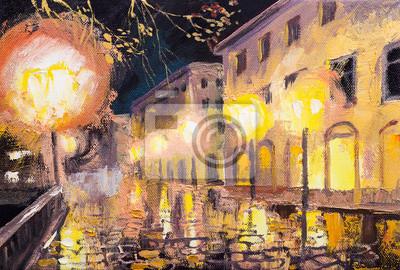 noc w Paryżu, lampy uliczne, kolorowy obraz olejny