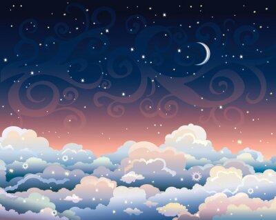 Obraz Nocne niebo z chmury i księżyc.