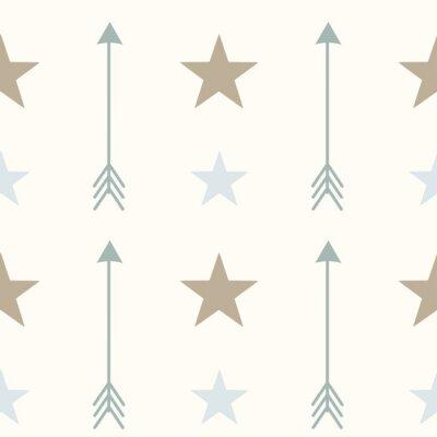 Obraz nordyckim stylu kolory strzały i gwiazdy bez szwu wzór tła ilustracji wektorowych