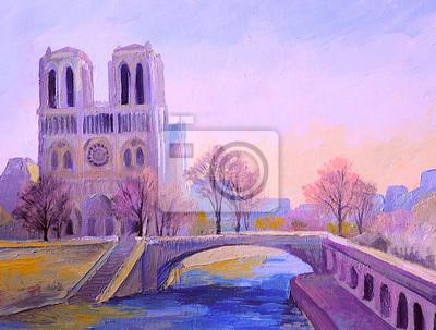 Notre Dame De Paris, kolorowy obraz olejny, abstrakcyjne impresjonizm