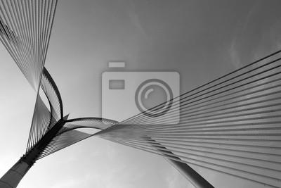Obraz Nowoczesna architektura w Putrajaya most na czarno-biały.